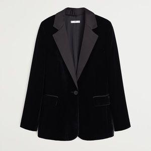 Mango Black Velvet Blazer